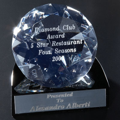 4-1/4 X 4 Inch Diamond Shaped Crystal With Black Base - Cr220 - Awards Trophy Eagles Without Plates CR220