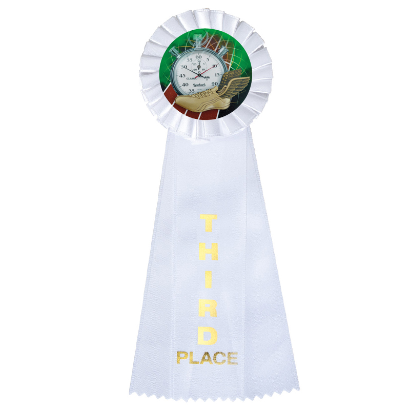 "4"" X 11"" Rosette White 3rd Place 3 Streamer Ribbon - Rt353 - Trophies And Awards Satin Imprinted Ribbons And RT353"