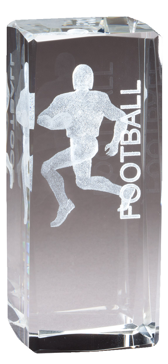 "4.5"" X 2"" Crystal Award Football Player Laser Engraved Inside - Cr321 - Paperweights Optical Cut Trophies And CR321"