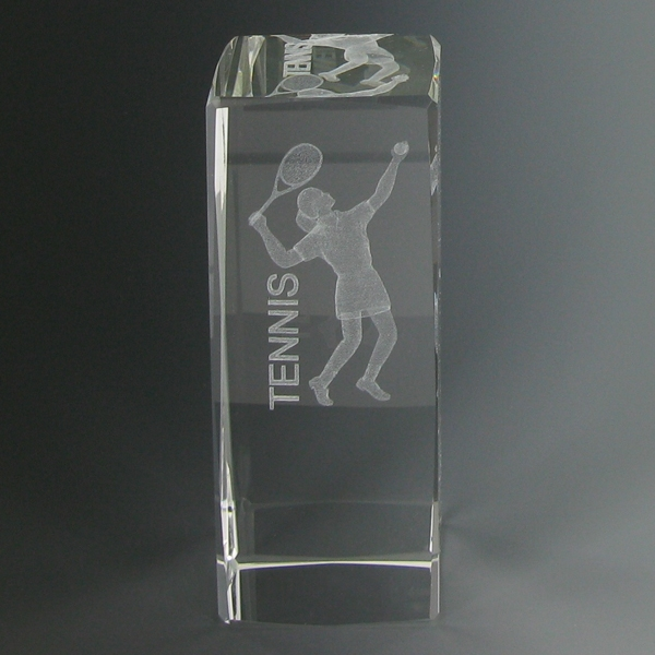 4-5/8 X 1-7/8 Optical Crystal Female Tennis Trophy - Cr279 - Trophies New And Glass Awards CR279