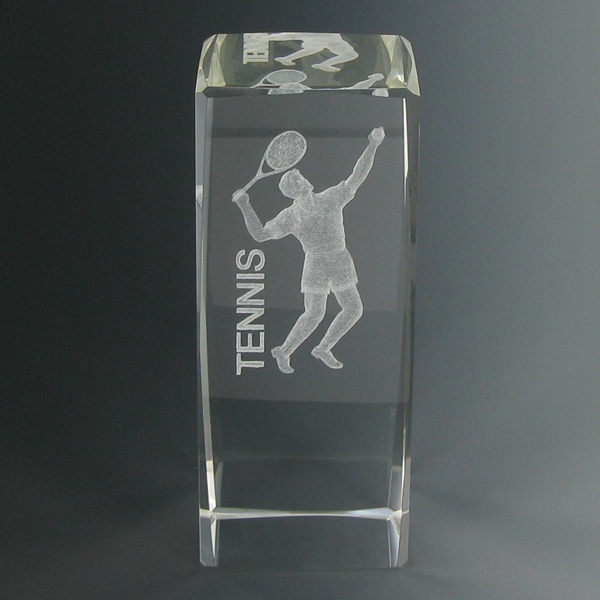 4-5/8 X 1-7/8 Optical Crystal Male Tennis Trophy - Cr280 - Trophies New And Glass Awards CR280