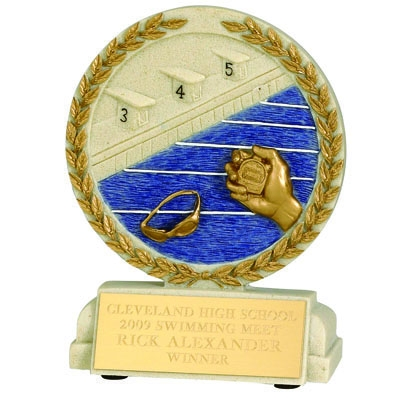 5-1/2 X 4-1/2 Inch Swimming Stone Resin Trophy - No Plate Xz9922 - Trophies And Awards Component Parts XZ9922