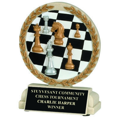 5-1/2 Inch Chess Board Cast Stone Trophy - Xz9912 - Trophies And Awards Component Parts XZ9912
