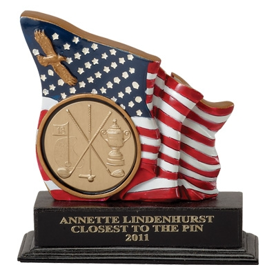 5-1/2 Inch Flag/eagle Trophy; Holds 2 Insert - Tr5643 - Academic Awards Traditional Column Trophies TR5643
