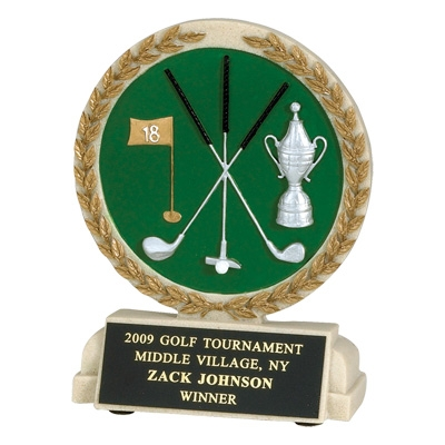 5-1/2 Inch Golf Stone Resin Trophy - Tr9925bk - Awards Mascot Trophies TR9925BK