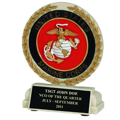 5-1/2 Inch U.s. Marines Stone Resin Trophy - Xz9928 - Trophies And Awards Component Parts XZ9928