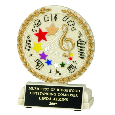 5-1/2 Inch Music General Cast Stone Trophy - Tr9913bk - Academic Awards Resin Scholastic Trophies TR9913BK