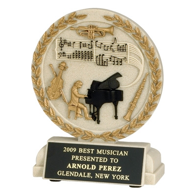 5-1/2 Inch Musician Cast Stone Trophy - Tr9914bk - Academic Awards Resin Scholastic Trophies TR9914BK