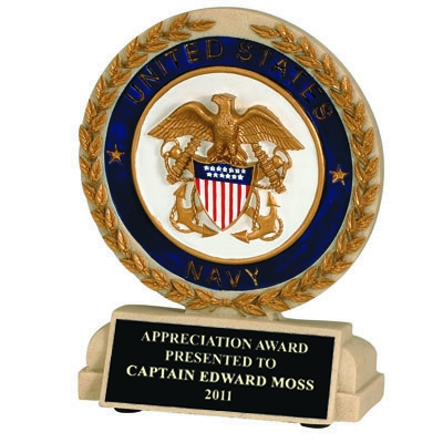 5-1/2 Inch U.s. Navy Stone Resin Trophy - Tr9931bk - Trophies Cast Sport; Academic And Military TR9931BK