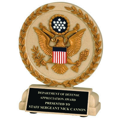 5-1/2 Inch U.s. Seal Stone Resin Trophy - Tr9932bk - Trophies Cast Sport; Academic And Military TR9932BK