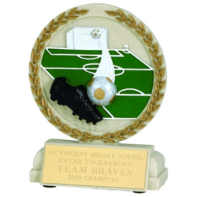 5-1/2 Inch Soccer Stone Resin Trophy - Xz9916 - Trophies And Awards Component Parts XZ9916