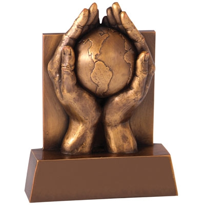 6-1/2 Hands And Globe Trophy; Antique Brass - X8759 - Trophies And Awards Resin Electroplated Figures X8759