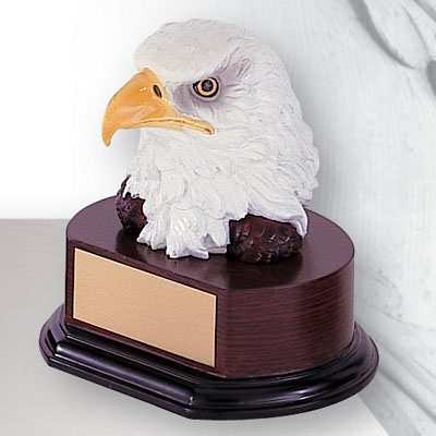 6-1/2 Inch Eagle Head Trophy; Hand Painted - Tr5378 - Resin Trophies; And Electroplated TR5378