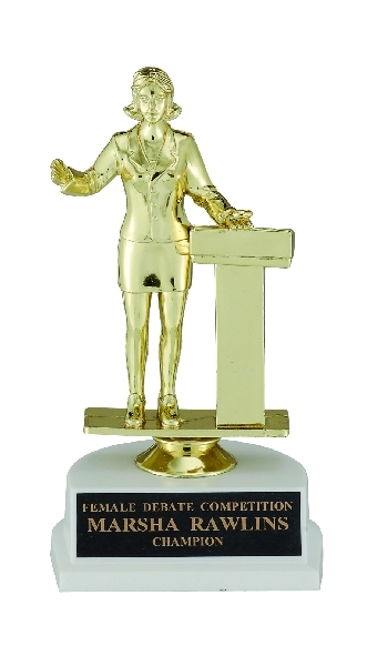 6-3/4 Inch Female Public Speaker; White Base - Tr3708-f29554g - Academic Awards Traditional Column Trophies TR3708-F29554G