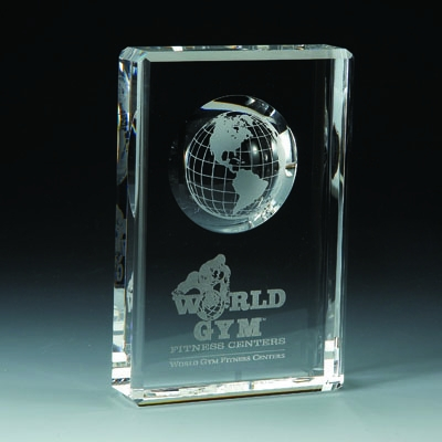 Learning: Supplies Teacher Helpers Awards & Incentives Diamond Rectangular Square Accented Jade Clear Glass Acrylics Awards - Cr246 - 6 X 4 Optical Crystal With Recessed Globe CR246