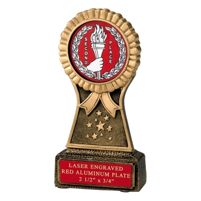 6 Inch Rosette Resin Trophy; Takes 2 Insert - Tr5886rd - Sports Trophies And Cast Stone Participation Economy TR5886RD