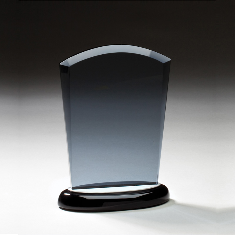 Tennis Trophies & Awards Awards - Jg401 - 6 Inch Smoked Glass Award On Black Base With Aluminum Accents JG401