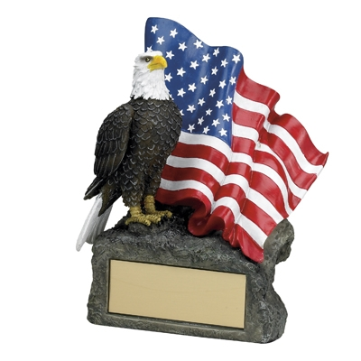 7-1/2 Inch Eagle/flag Trophy; Hand Painted - Tr5741 - Resin Eagle Trophies; And Electroplated TR5741