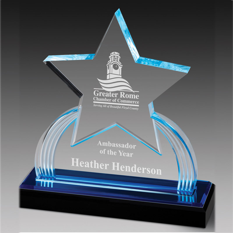 7-3/4 Inch Acrylic Star Trophy With Blue Reflective Black Base - Ac339 - Trophies And Awards Glass; Crystal And AC339