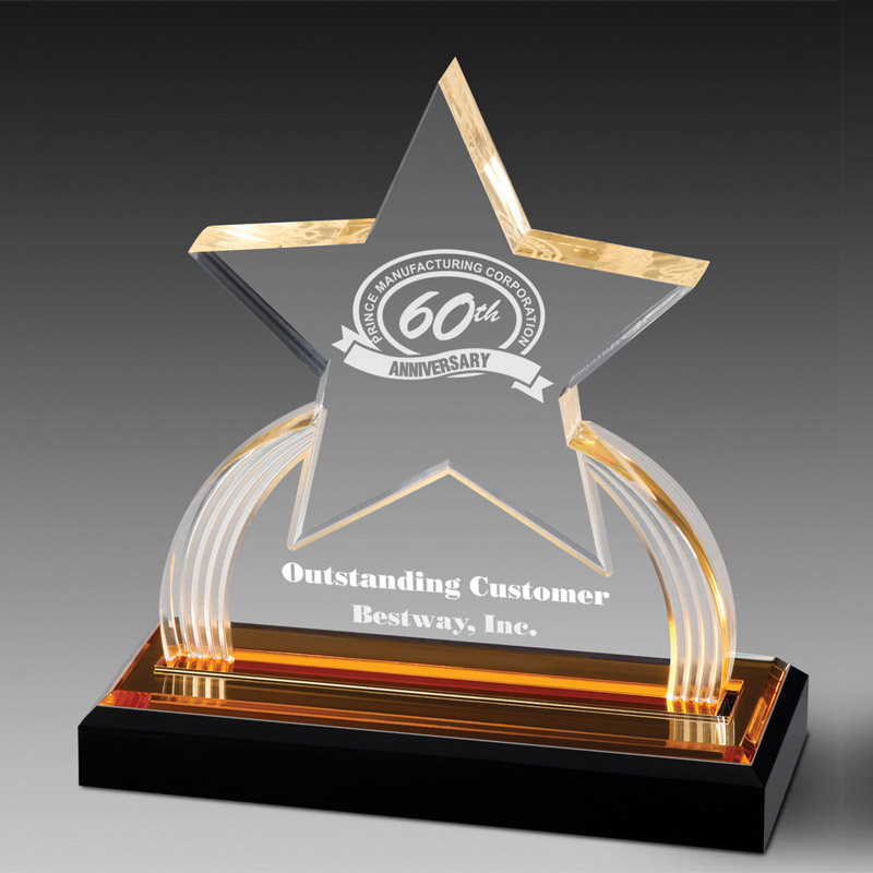 7-3/4 Inch Acrylic Star Trophy With Gold Reflective Black Base - Ac337 - Trophies And Awards Glass; Crystal And AC337