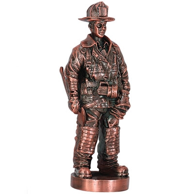 7 Inch Fireman Figure; Antique Bronze - X8761b - Trophies And Awards Component Parts X8761B