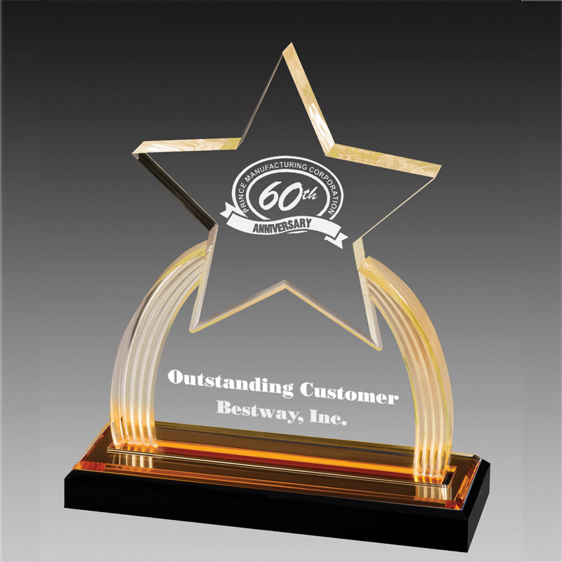 8-3/4 Inch Acrylic Star Trophy With Gold Reflective Black Base - Ac338 - Trophies And Awards Glass; Crystal And AC338