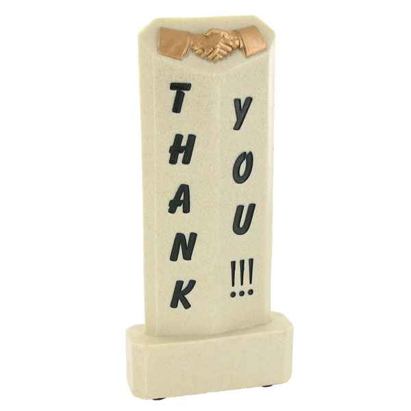 8 X 3 Inch Thank You Resin Trophy - X9064 - Trophies And Awards Component Parts X9064