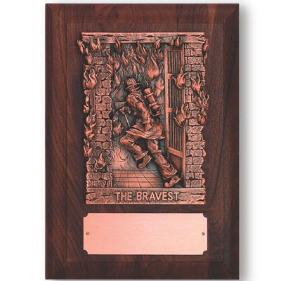 9-1/2 X 13-1/4 Firefighter Plaque; Genuine Walnut Finish; Bronze Figure; Copper Plate - Pn5616 - Trophies Executive's Desk Special Awards PN5616