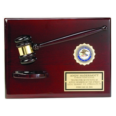 9 X 12 Inch Plaque Rosewood Piano Finish With Gavel And Block; Holds 2 Insert - Ps5945g - Trophies Firefighter; Emt; Police Awards PS5945G
