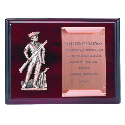 9 X 12 Inch Rosewood Piano Finish Minuteman Plaque With Copper Scroll Plate - Pn5963 - Trophies Military Award Plaques Full Plates And Eagles PN5963
