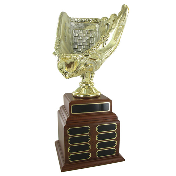 Baseball Perpetual Trophy; Height 18-1/2 Inches; 11 Inch Gold Glove - Tr7384 - Awards New Trophies TR7384