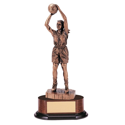 Basketball Female Trophy; 14 Inch; Electroplated - Tr5325 - Awards Cast Stone Star And Special Recognition Trophies TR5325