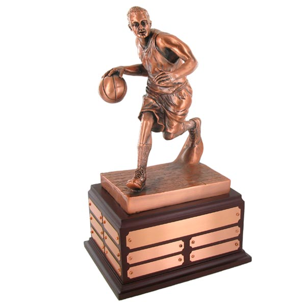 Basketball Perpetual Trophy; 13-1/2 Inch; Electroplated In Antique Bronze - Tr7334 - Trophies And Awards New Resin TR7334