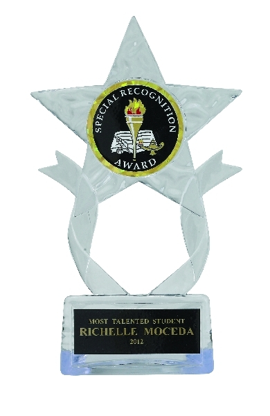 Clear Acrylic Star Trophy; 7-1/2 Inch; 2 Inch Insert - Tr7270 - New Academic Awards And Trophies TR7270