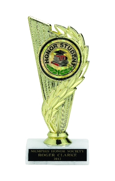 Column Trophy; 6-3/4 Inch; White Marble Base; 2 Inch Insert - Tr7266 - New Academic Awards And Trophies TR7266