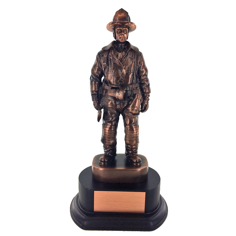 Firefighter Trophy; 14 Inch; Electroplated In Antique Bronze - Tr5372 - Trophies Executive's Desk Special Awards TR5372