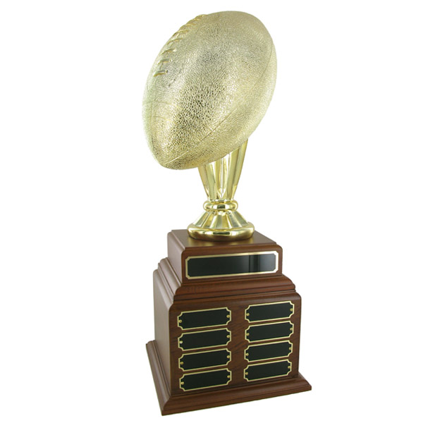 Football Perpetual Trophy; Height 20 Inches; 10-1/2 Inch Gold Ball; 32 Plates - Tr7370-32 - Brooches And Lapel Sports Awards TR7370-32