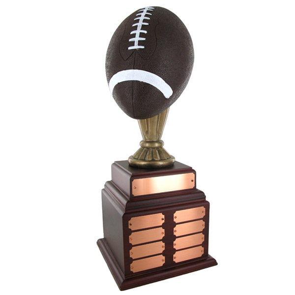 Football Perpetual Trophy; Height 20 Inches; 10-1/2 Inch Painted Ball - Tr7359 - Brooches And Lapel Sports Awards TR7359