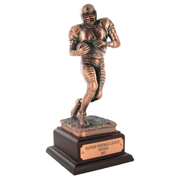 Football Player Bronze Trophy; 11-1/2 Inches - Tr7331 - Brooches And Lapel Sports Awards TR7331