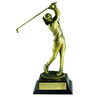 Golf Trophy; Female; 12-1/2 Inch; Electroplated In Antique Brass - Tr5917 - Awards Cast Stone Star And Special Recognition Trophies TR5917