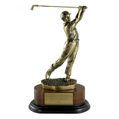 Golf Trophy; Male; 11-1/2 Inch; Electroplated In Antique Brass - Tr5548 - Awards Cast Stone Star And Special Recognition Trophies TR5548