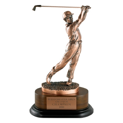 Golf Trophy; Male; 11-1/2 Inch; Electroplated In Antique Bronze - Tr5328 - Awards Cast Stone Star And Special Recognition Trophies TR5328