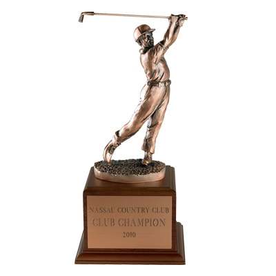 Golf Trophy; Male;13 Inch; Electroplated In Antique Bronze - Tr5346 - Awards Cast Stone Star And Special Recognition Trophies TR5346