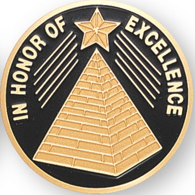 Learning: Supplies Teacher Helpers Awards & Incentives Trophies Awards & Medals - 518234g - In Honor Of Excellence; 2 Inch Etched Enameled 518234G