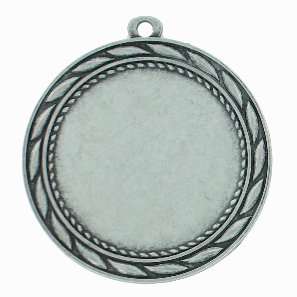 Medal Frame With Wreath; Holds 2 Inch Medallion Insert. Silver Finish 2-3/4 Diameter. - M185s - Trophies And Awards Blank Medals For Engraving And Imprinting M185S