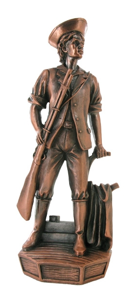 Minuteman Electroplated Bronze Figure; 11-1/2 Inch - X9313b - Trophies Large Military Figures X9313B
