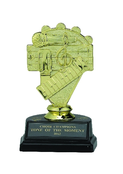 Music Trophy; 5-1/4; Black Marbleized Base - Tr7271 - New Academic Awards And Trophies TR7271