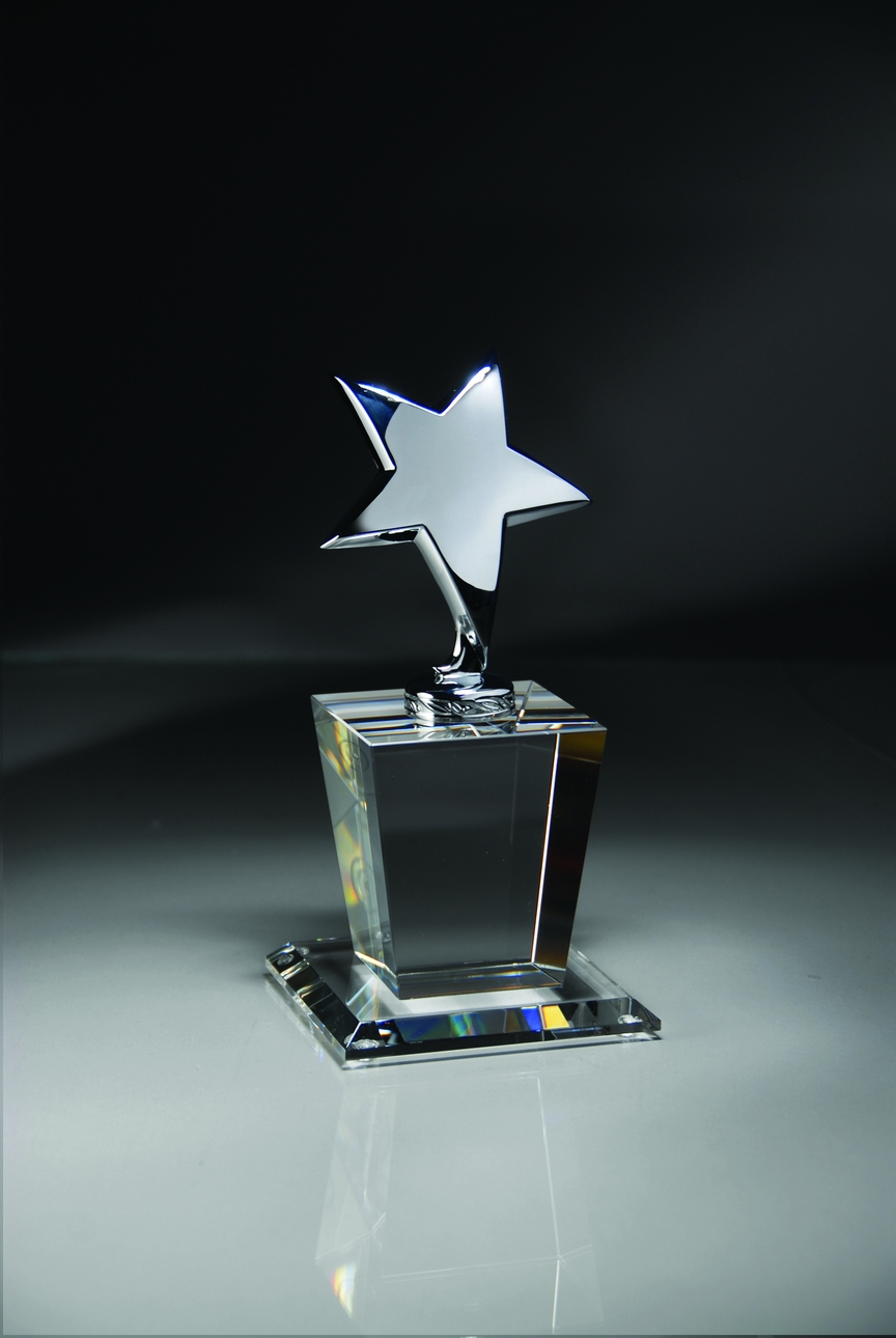 Optical Crystal Trophy With Polished Metal Silver Star; Size 4 X 8 Inch - Cr325 - Paperweights Cut Trophies And CR325