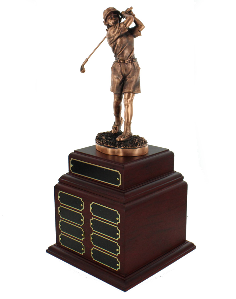 Perpetual Female Golf Trophy Double Rosewood Base; 16 Name Plates - Tr7417-16 - Awards Traditional Wood Turning Trophies TR7417-16
