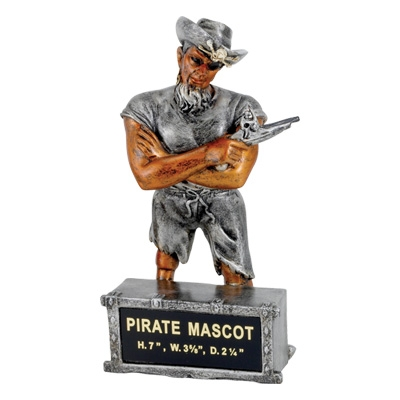 Pirate Mascot Trophy - Mt2016 - Awards Large Resin Sport Ball Trophies MT2016